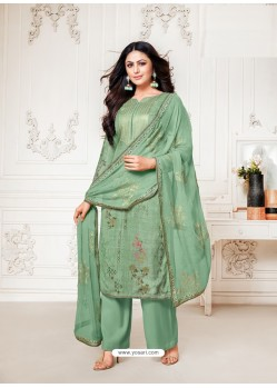 Sea Green Designer Pure Cotton Silk Party Wear Palazzo Suit