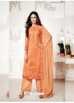 Orange Designer Pure Cotton Silk Party Wear Palazzo Suit