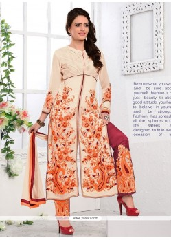 Energetic Cream Georgette Salwar Suit