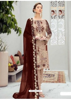Light Beige Latest Heavy Designer Party Wear Pakistani Style Salwar Suit