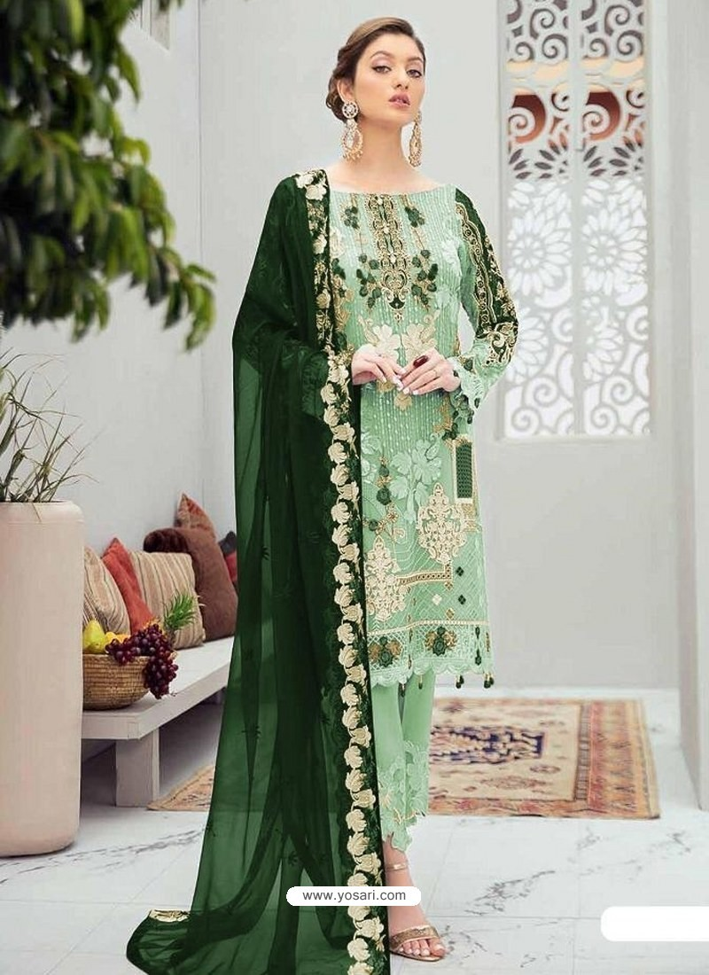 Sea Green Latest Heavy Designer Party Wear Pakistani Style Salwar Suit
