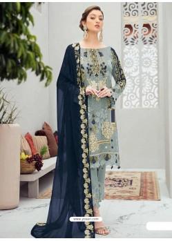 Aqua Grey Latest Heavy Designer Party Wear Pakistani Style Salwar Suit