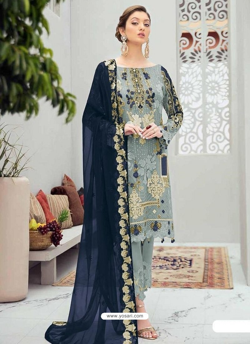 Aqua Grey Latest Heavy Designer Party Wear Pakistani Style Salwar Suit