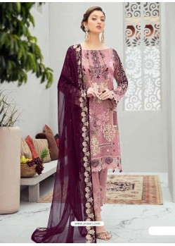 Old Rose Latest Heavy Designer Party Wear Pakistani Style Salwar Suit
