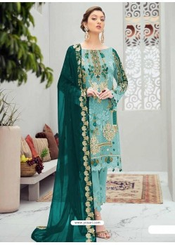 Sky Blue Latest Heavy Designer Party Wear Pakistani Style Salwar Suit