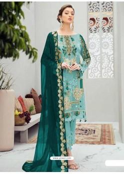 Sky Blue Latest Heavy Designer Party Wear Pakistani Style Salwar Suit