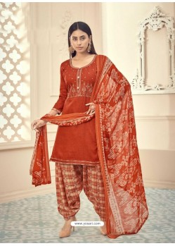Rust Heavy Designer Pure Jam Cotton Punjabi Patiala Suit