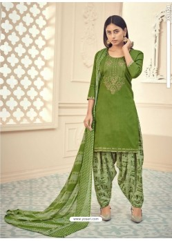 Green Heavy Designer Pure Jam Cotton Punjabi Patiala Suit