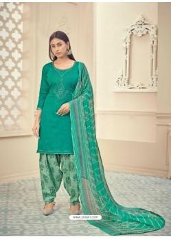 Jade Green Heavy Designer Pure Jam Cotton Punjabi Patiala Suit