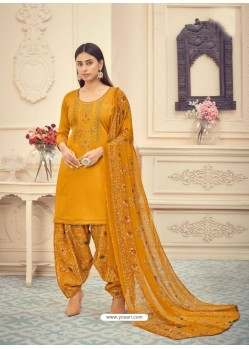 Yellow Heavy Designer Pure Jam Cotton Punjabi Patiala Suit
