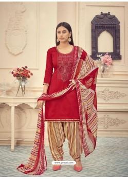 Maroon Heavy Designer Pure Jam Cotton Punjabi Patiala Suit