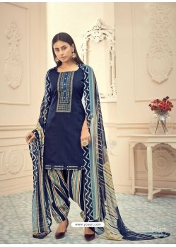 Dark Blue Heavy Designer Pure Jam Cotton Punjabi Patiala Suit
