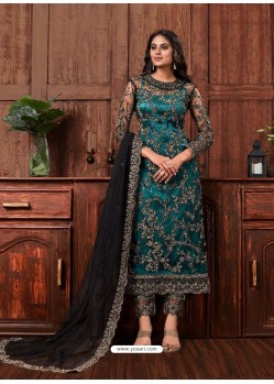 Teal Party Wear Designer Heavy Net Straight Salwar Suit