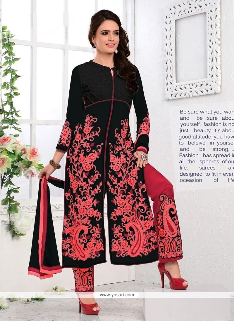 Perfect Embroidered Work Black Georgette Designer Salwar Kameez
