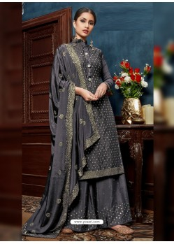 Grey Heavy Designer Party Wear Chinnon Palazzo Suit