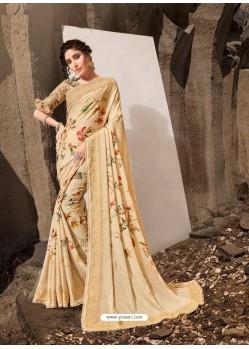 Light Beige Designer Lukhnavi Embroidered Party Wear Silk Georgette Sari