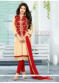 Ayesha Takia Beige And Red Churidar Designer Suit