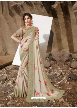 Taupe Designer Lukhnavi Embroidered Party Wear Silk Georgette Sari