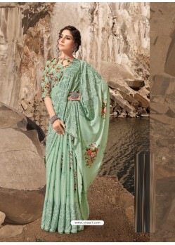 Sea Green Designer Lukhnavi Embroidered Party Wear Silk Georgette Sari
