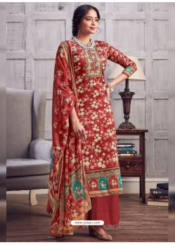Red Latest Designer Party Wear Pure Jam Palazzo Suit