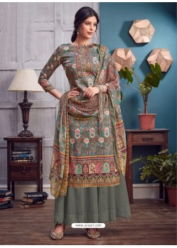 Grey Latest Designer Party Wear Pure Jam Palazzo Suit