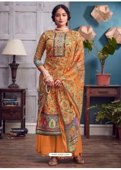 Orange Latest Designer Party Wear Pure Jam Palazzo Suit