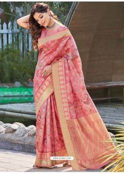 Light Pink Latest Digital Printed Designer Party Wear Silk Sari