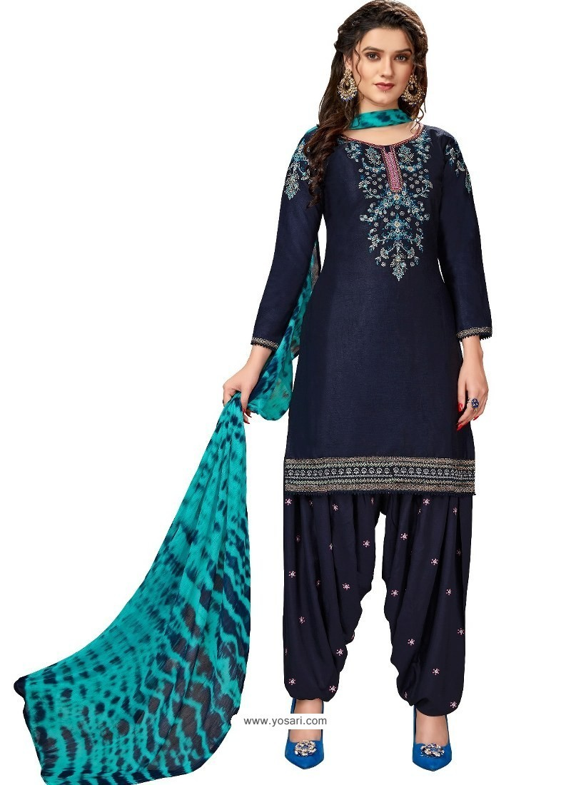 Navy Blue Designer Party Wear Glaze Cotton Patiala Suit