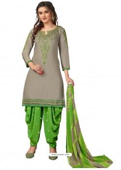 Light Grey Designer Party Wear Glaze Cotton Patiala Suit