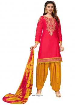 Red Designer Party Wear Glaze Cotton Patiala Suit