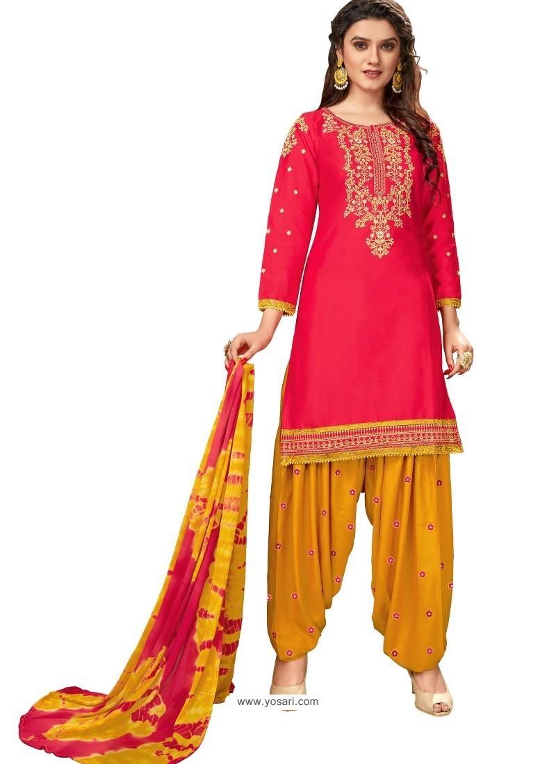 Red Designer Party Wear Glaze Cotton Patiala Suit