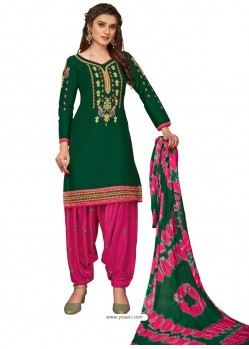 Dark Green Designer Party Wear Glaze Cotton Patiala Suit