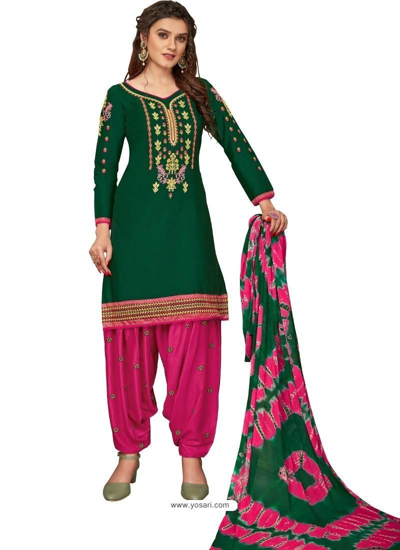Dark Green Designer Party Wear Glaze Cotton Patiala Suit