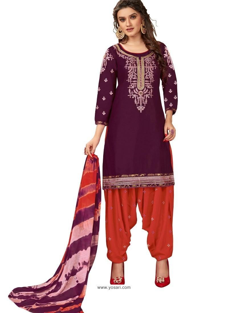 Purple Designer Party Wear Glaze Cotton Patiala Suit