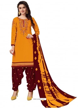 Yellow Designer Party Wear Glaze Cotton Patiala Suit