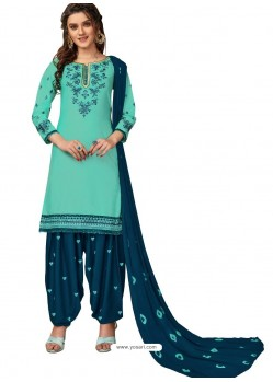 Aqua Mint Designer Party Wear Glaze Cotton Patiala Suit