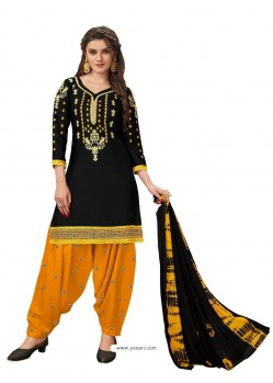 Black Designer Party Wear Glaze Cotton Patiala Suit