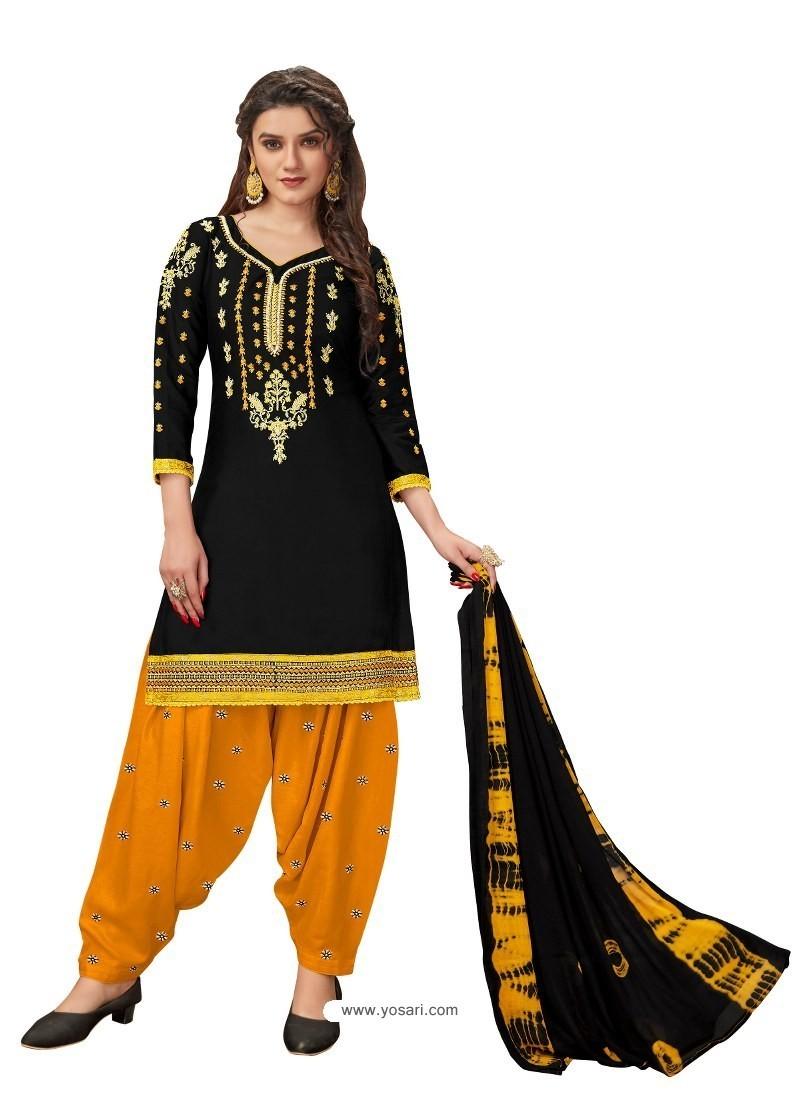 Black Designer Party Wear Glaze Cotton Patiala Suit