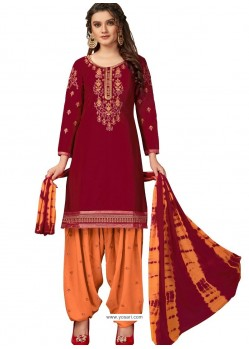 Maroon Designer Party Wear Glaze Cotton Patiala Suit