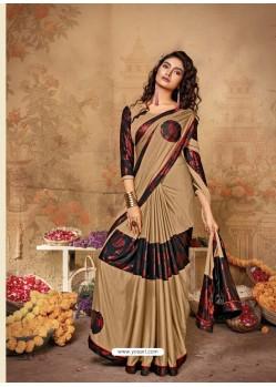 Beige Stunning Designer Party Wear Lycra Sari
