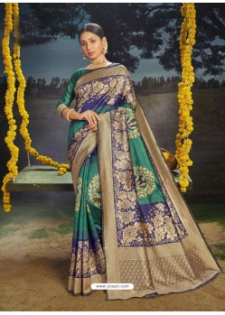 Aqua Mint Designer Classic Traditional Wear Soft Silk Sari
