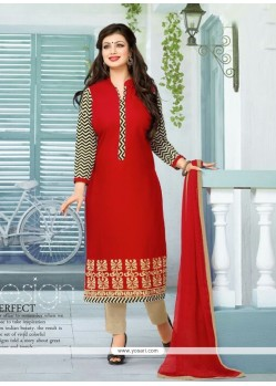Ayesha Takia Cotton Red Churidar Designer Suit