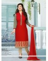 Ayesha Takia Cotton Red Churidar Designer Suit