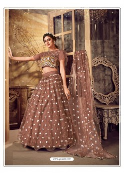 Brown Gorgeous Designer Party Wear Soft Net Lehenga