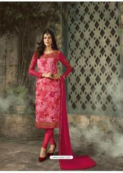 Rose Red Designer Party Wear Churidar Salwar Suit