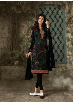 Black Designer Party Wear Churidar Salwar Suit
