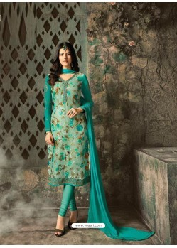 Aqua Mint Designer Party Wear Churidar Salwar Suit