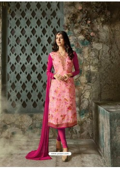 Pink Designer Party Wear Churidar Salwar Suit