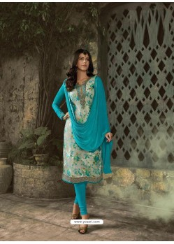 Blue Designer Party Wear Churidar Salwar Suit