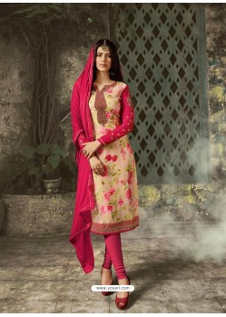 Light Beige Designer Party Wear Churidar Salwar Suit